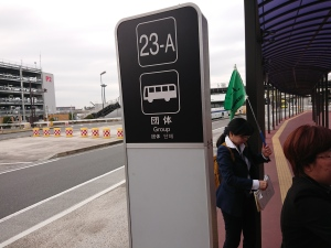 Bus stop for group tourists