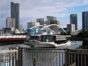 A water bus from Hamarikyu to Asakusa (JPY 800 one-way)