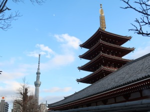 Five-storied pagoda and Tokyo Skytree