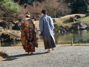 A couple taking photo for wedding