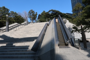 Stone steps with escalator