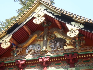 """Imaginary Elephants""on a gable of the Kamijinko Storehouse"