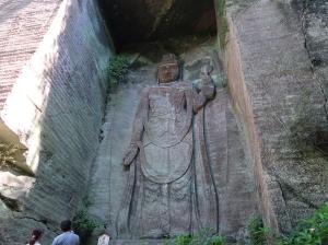tall relief image of Kannon Bodhisattva